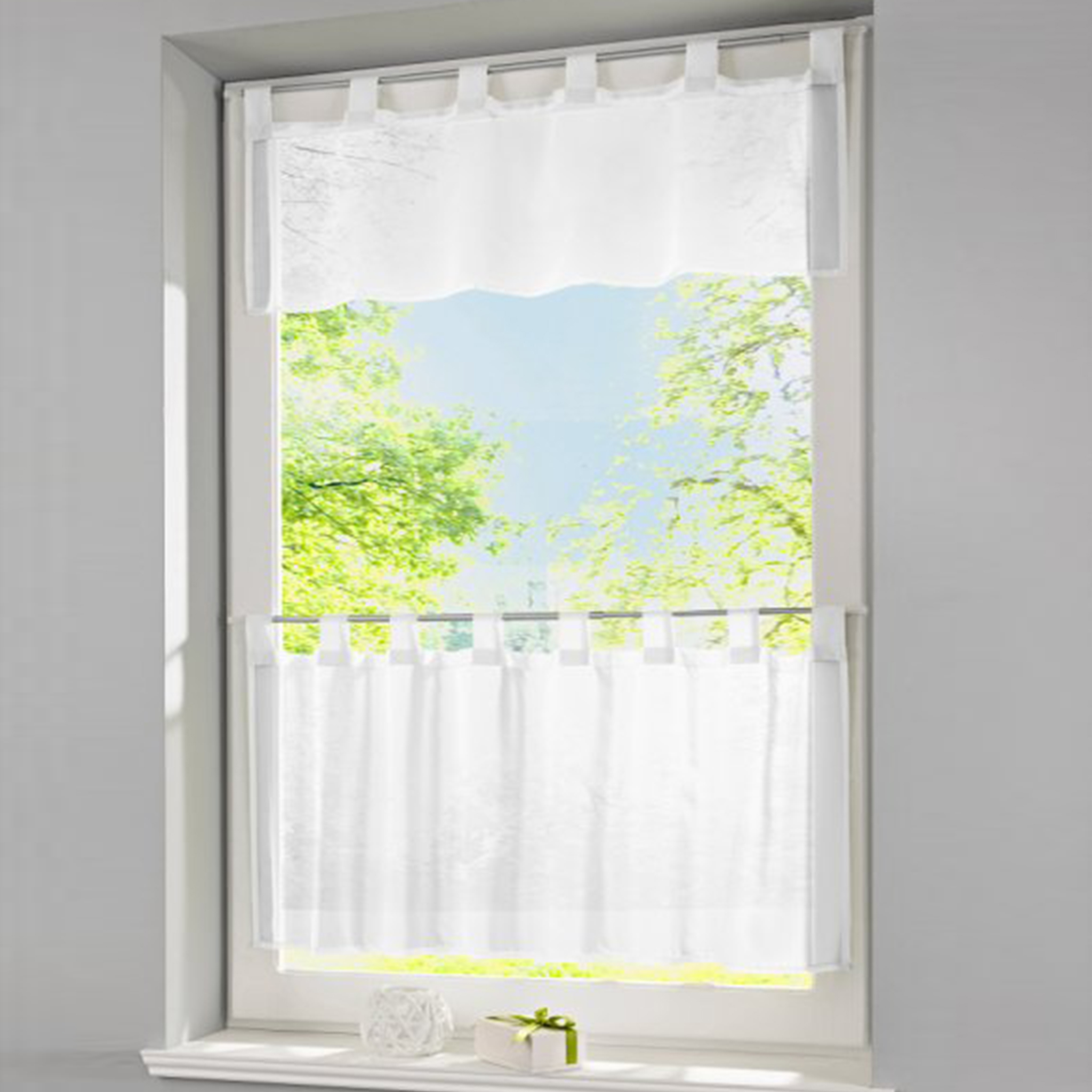 Popular tab valances buy cheap tab valances lots from for Best brand of paint for kitchen cabinets with blackout window stickers
