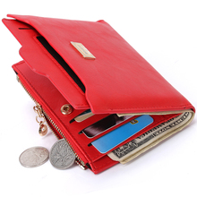 New Top Brand Fashion Zipper PU Leather Coin Card Holder Photo Holders Women Purse Wallet Female Purse Wallets(China (Mainland))