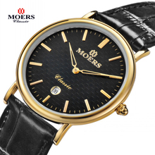 2015 Brand Moers CB 6008 watches men Casual fashion Genuine Leather wristwatch Waterproof luxury gold Business