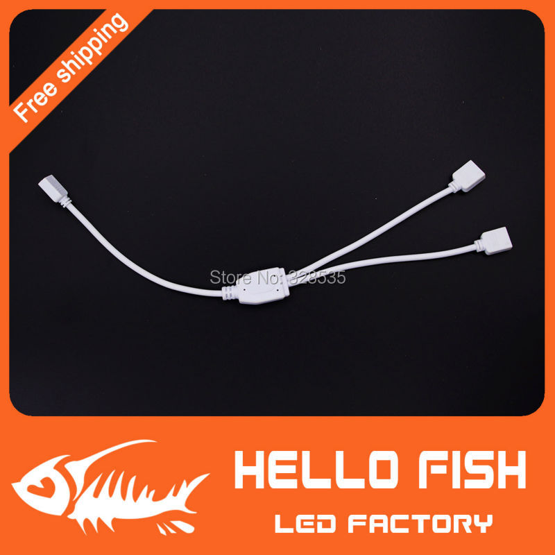 2pcs strip connector split Two in one RGB LED strips extension cable with 4 pin connector for 5050 3528 strips free shipping(China (Mainland))