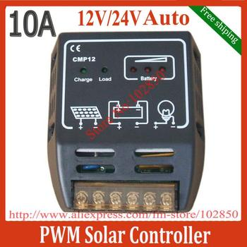 Free Shipping lowest price 10A solar charge controller,12/24V auto work,LED indicator ,CE, RoHS certification
