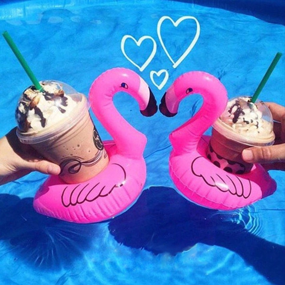 Mini Cute Flamingo Floating Drink Pool Holder Inflatable Drink Mat Water Toy(China (Mainland))