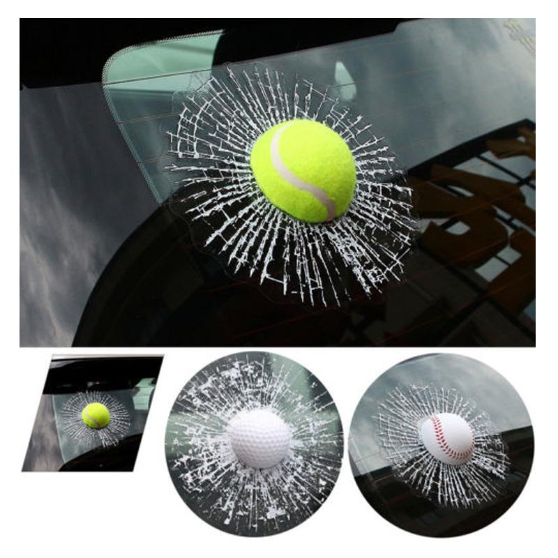 3D Funny Tennis Basket Base Golf Ball Smash Glass Decals Car Decorative Sticker(China (Mainland))