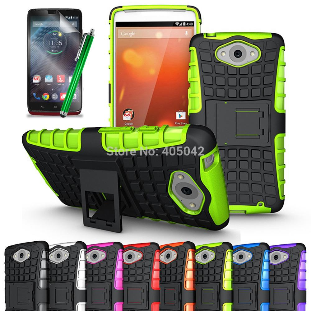 For Motorola Droid Turbo XT1254 Protective Armor Heavy Duty Hard Cover Case Silicone Skin With Free Gift Pen+3PCS Films XT 1254(China (Mainland))