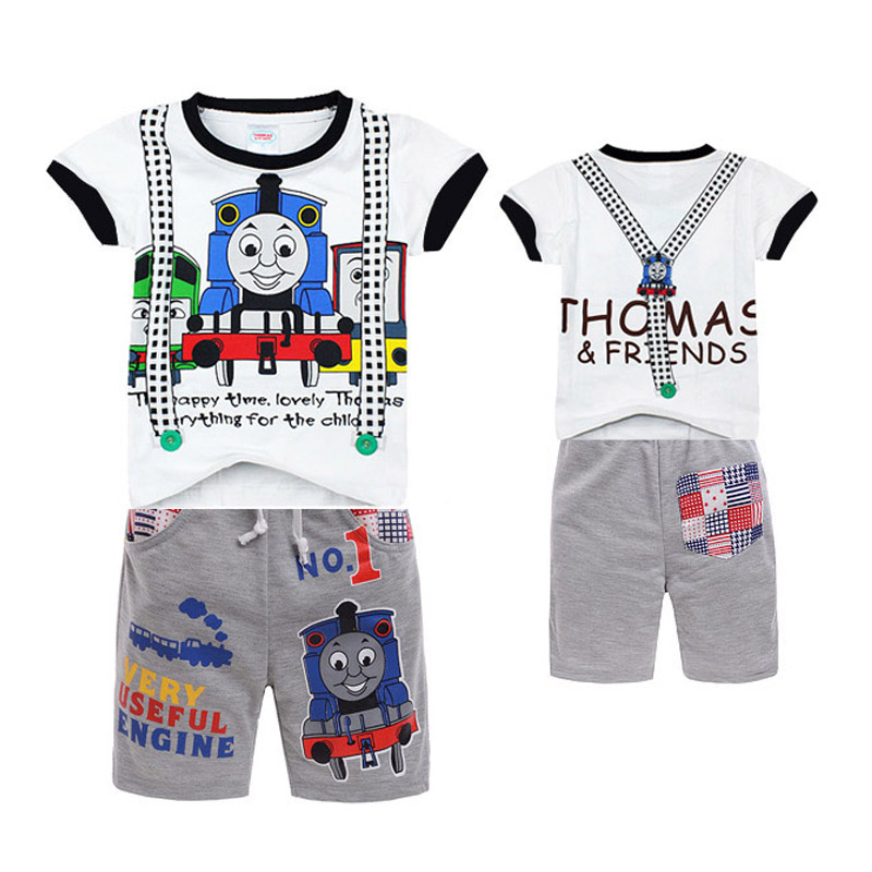 New Children sets Thomas Friends kids boys clothes Minnie hoodies t shit+ Beach Pants Summer Child Baby Boy Twinset Clothing