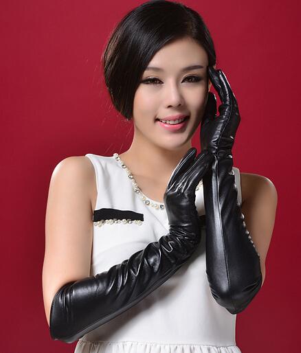 Luxury long gloves arm sheepskin genuine leather 4050cm winterautumn real women femal - PRICE SHOP store