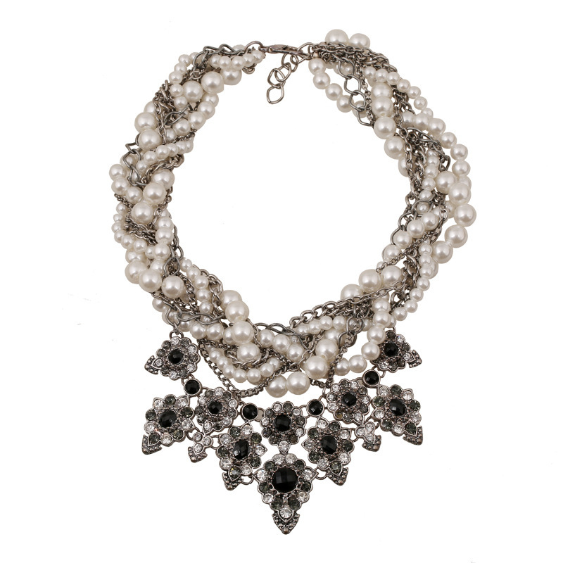 2015 Chunky crystal statement necklace collier fashion Luxury ZA women choker pearl collar Necklaces Pendants - C&J jewelry Co., Ltd. store