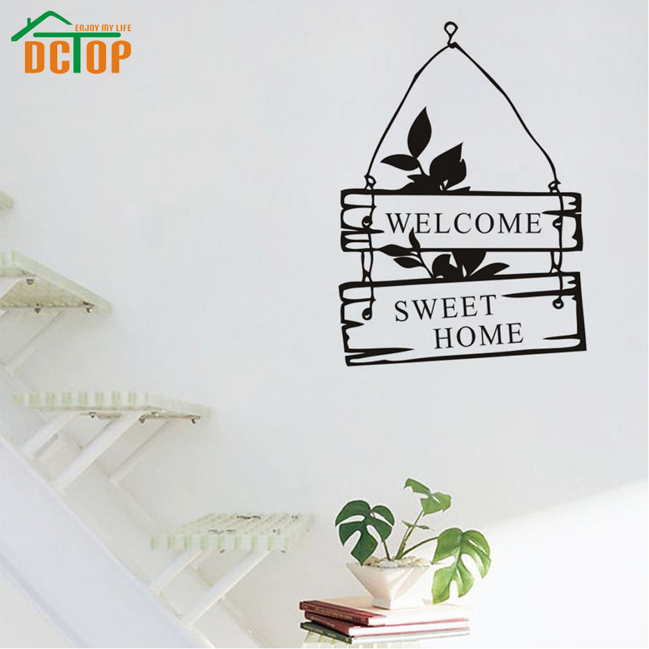 DCTOP Welcome Sweet Home Wall Stickers Door Decorative Hang Stickers For Wall Vinyl Wall Decals(China (Mainland))