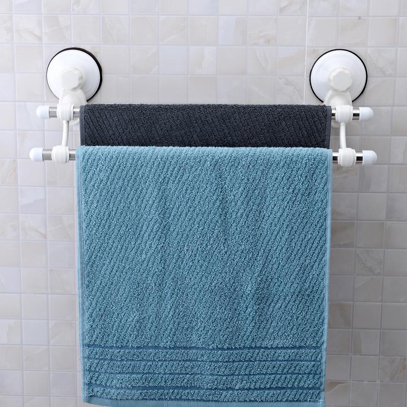 Shuangqing stainless steel suction cup towel rack bathroom double towel rack towel bar towel hanging 60cm(China (Mainland))
