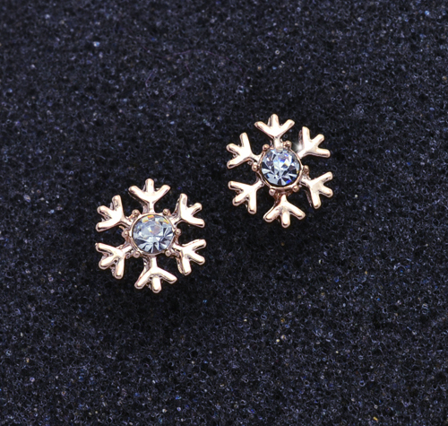 Гаджет  Fashion jewelry New rose gold plated Snowflake stud gift  for women girl wholesale E2612 None Ювелирные изделия и часы