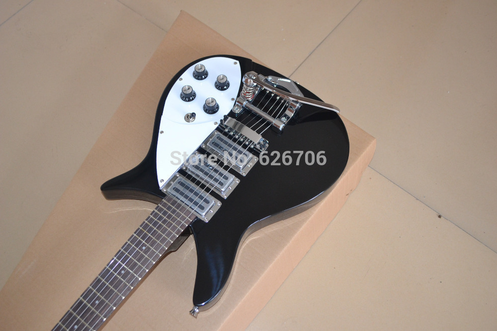 Wholesale Black Rick 325 Model 3 Pickup Bigsby Tremolo Electric Guitar In Stock(China (Mainland))