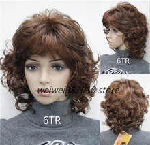 Women 's  Medium short Curly wigs High quality Synthetic hair wig blonde/black/ Burgundy Many colors Free shipping(China (Mainland))