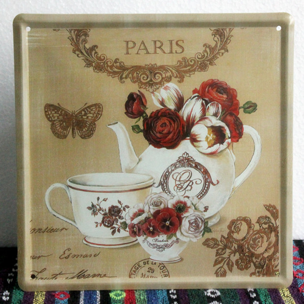 """New 2015 XD22-078 vintage metal painting """"Porcelain teacup"""" tin signs fashion coffee bar decorative wall crafts poster 20x20 CM(China (Mainland))"""