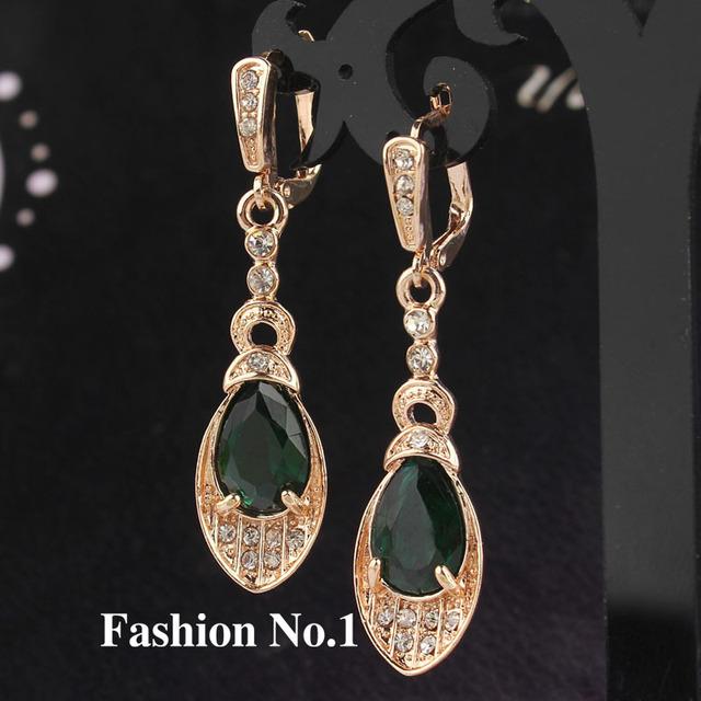 Модный дизайн 18 К позолоченные романтический зеленые CZ леди женщин серьги Dangler ювелирные изделия бесплатная доставка