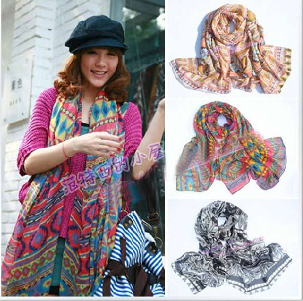 2014 Hot Sell Spring Summer Tribal Scarf Newest Fashion Polyester Bohemia Style Aztec Tribal Shawl(China (Mainland))