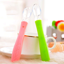 1 Pc Babies Safety Soft Silicone Head Spoon Kids Feeding Spoon Heat-resistant Spoon 29306