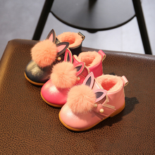 Fashion Style Shine Genuine Leather Baby Moccasins First Walkers Soft Rabbit Ears Baby Thick And Velvet Girl Shoes Infant Shoes(China (Mainland))