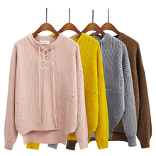 2015 New Autumn Women Sweater Pullover Students Solid Color Quietly Elegant Lacing O-neck Loose Batwing Sleeve Knitted Sweater(China (Mainland))
