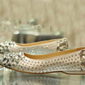 Comfortable Formal Dress Shoe Glitter satin rhinestone crystal bridal shoes flat heel female flat crystal wedding