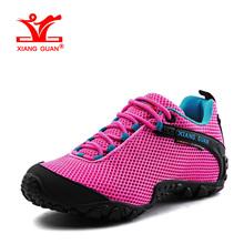 XIANGGUAN Woman Hiking Shoes Women Mesh Breathable Trekking Boots Pink Zapatillas Sports Climbing Shoe Outdoor Walking Sneakers