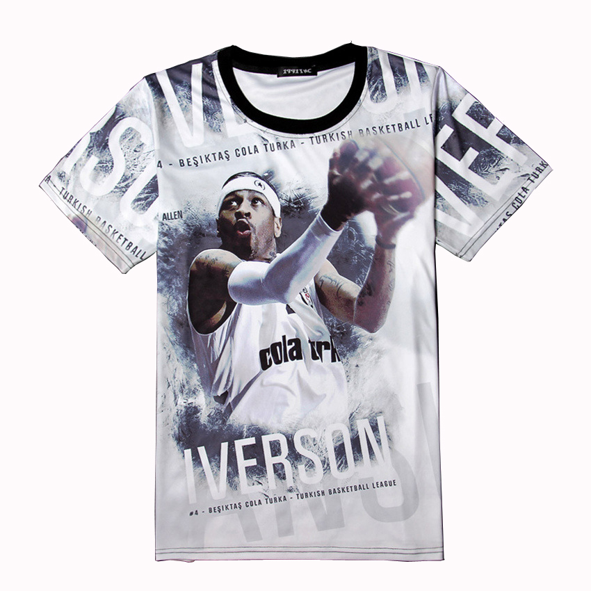 Allen Iverson Jersey T Shirt Men 3d Throwback Team usa Basketball Jerseys Kyrie Irving Curry Tees Tops Lebron Westbrook James(China (Mainland))