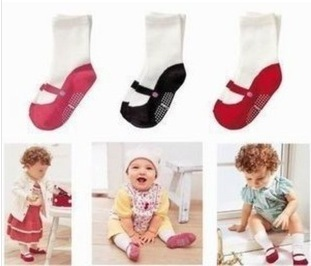 Hot selling Pure cotton Imitation shoes Baby socks Rubber non-slip floor socks Free shipping()