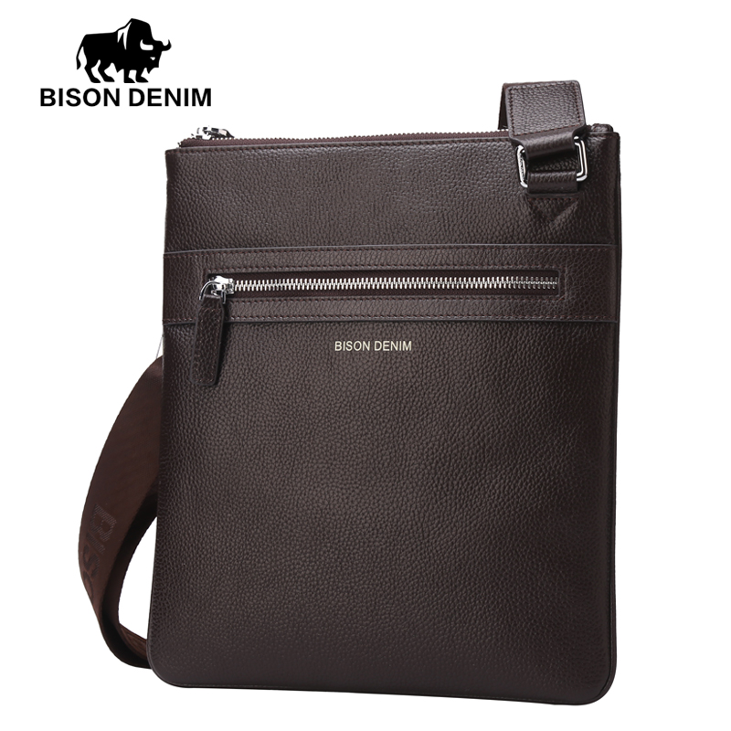 BISON DENIM Brand 100% top cowhide genuine leather Male bags slim shoulder bag Business Travel Ipad Crossbody Bag for men(China (Mainland))