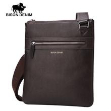 Buy BISON DENIM Brand 100% top cowhide genuine leather Male bags slim shoulder bag Business Travel Ipad Crossbody Bag men for $37.44 in AliExpress store