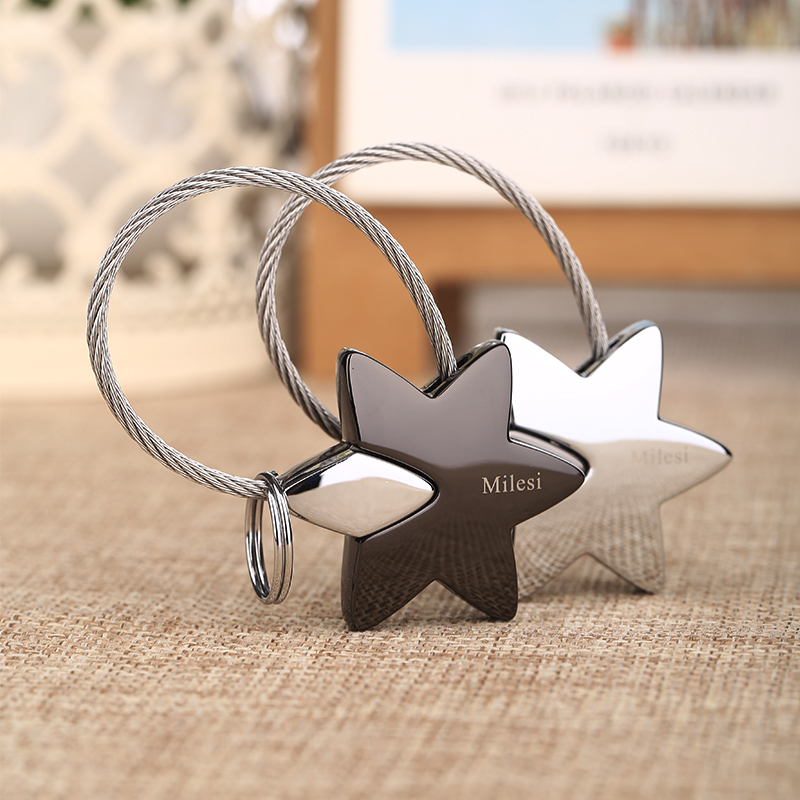Milesi Couple Star Metal Keychain Lover Keyring key holder souvenir pendant innovative Items llaveros porte clef Gift 7537(China (Mainland))