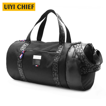 UIYI Multifunction Men Messenger Bag High Capacity Men Travel Bags Large Barrel-Shaped Black Shoulder Sport Bag Man Sac de sport
