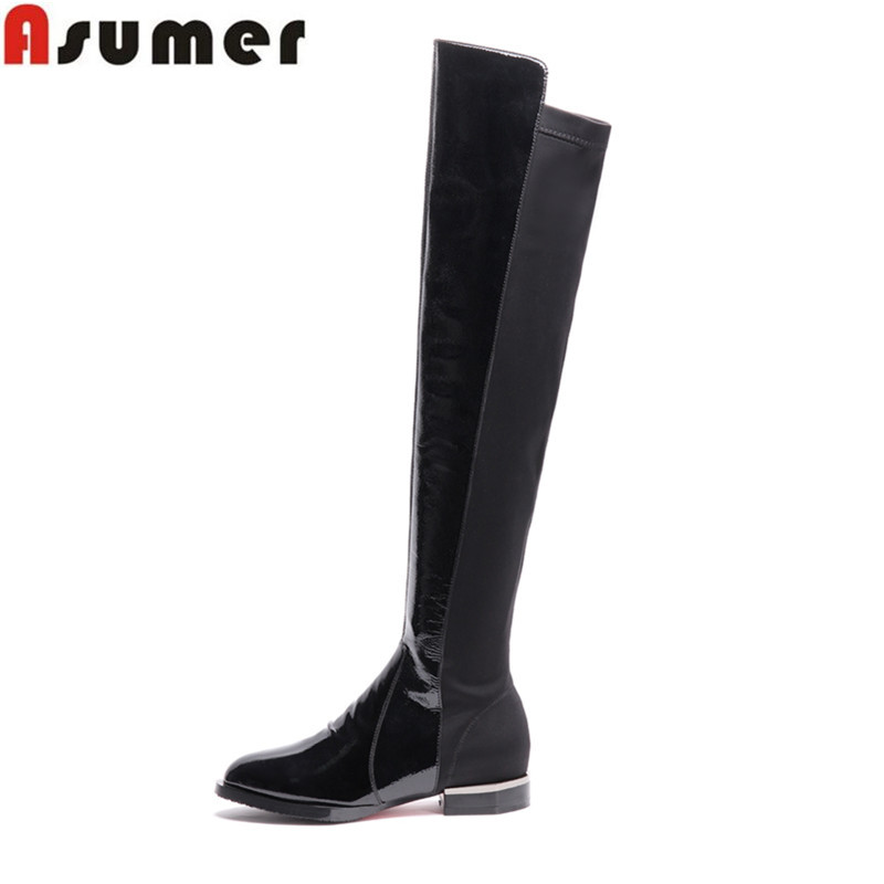 2016 Winter Fashion bright japanned high quality genuine leather patchwork round toe square heel over the knee boots for women<br>