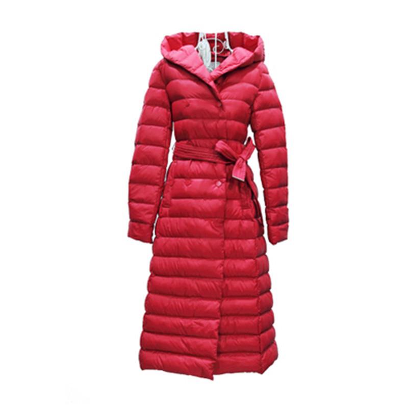 2015 Winter Korea Style Women High End Long Over Knee Outwear Coat Parkas Hooded Belt Femininos White Duck Downs Jacket LJ2876Одежда и ак�е��уары<br><br><br>Aliexpress