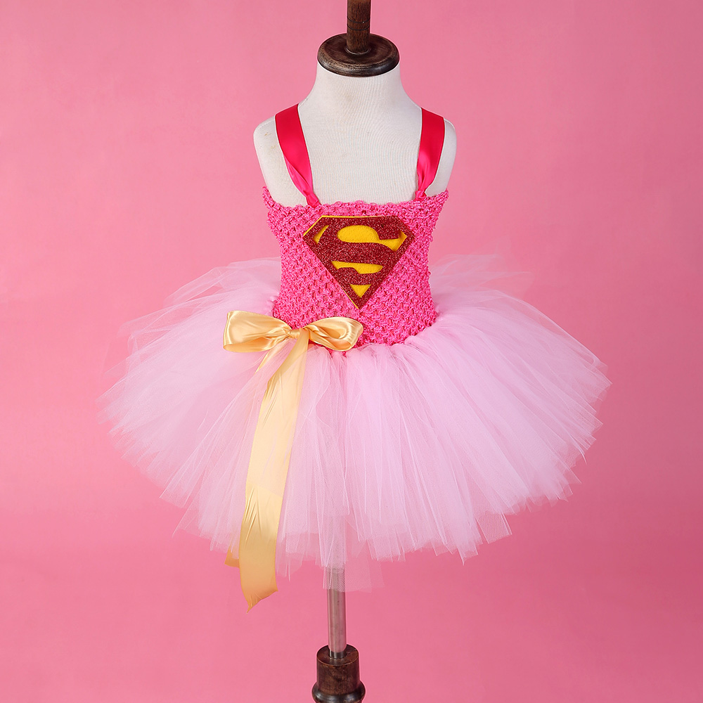 Baby Girl's Tutu Dress Superman Cosplay Halloween Party Cute Girl's Ball Gown Dress For 2-8Y(China (Mainland))