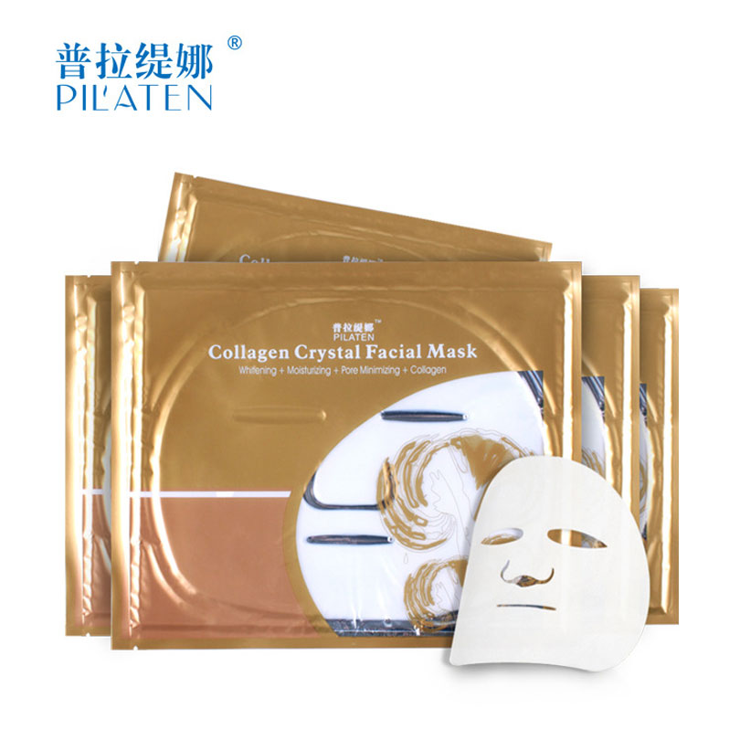 Free Shipping PILATEN Collagen Crystal Facial Whitening Mask Moisture Anti Aging Face Cleansing Masks Skin Care(China (Mainland))