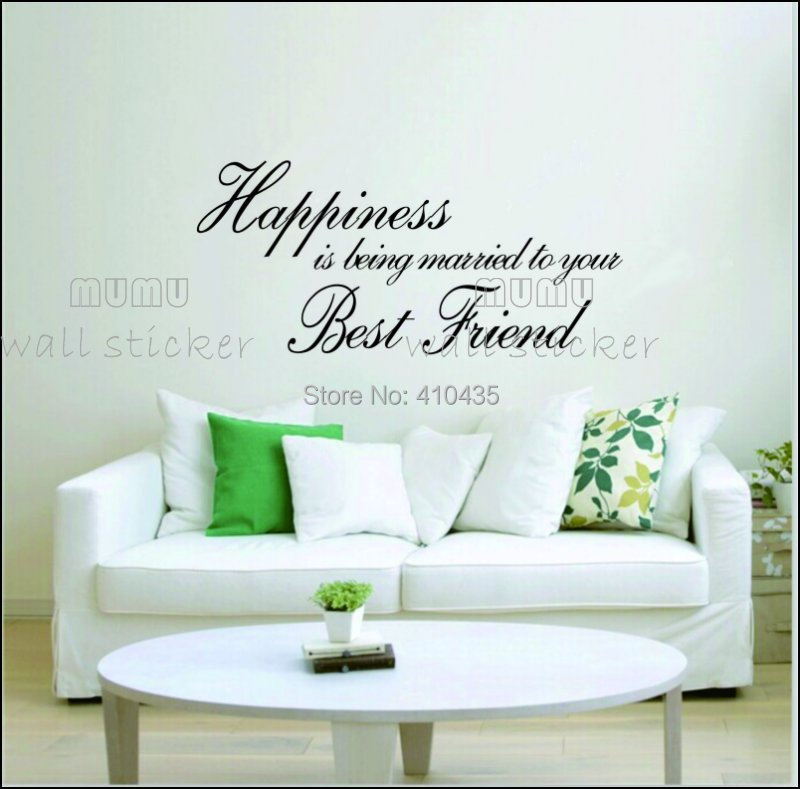 Happiness is being ... home decor creative quote wall decals decorative removable vinyl wall stickers(China (Mainland))