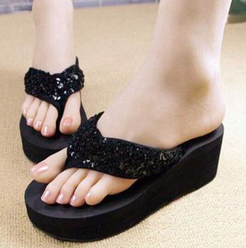 ASDS New slippers female slippers wedges platform elevator slip-resistant paillette beach flip flops black