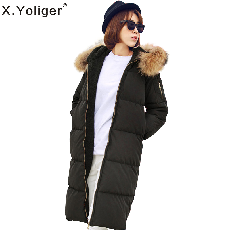 2015 new fashion Korean style casual raccoon fur collar long sleeve zipper hooded cotton-padded coat 354015Одежда и ак�е��уары<br><br><br>Aliexpress