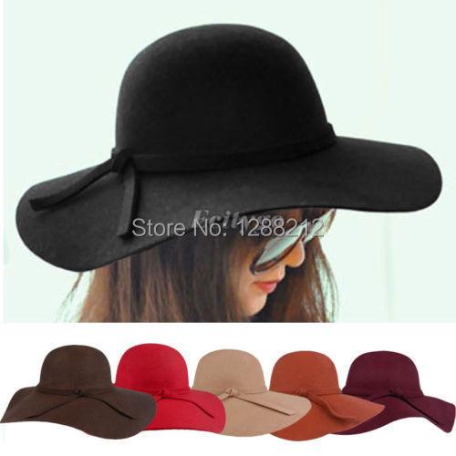 6x New Fashion New Vintage Women Ladies Floppy Wide Brim Wool Felt Fedora Cloche Hat Cap 6 Color(China (Mainland))