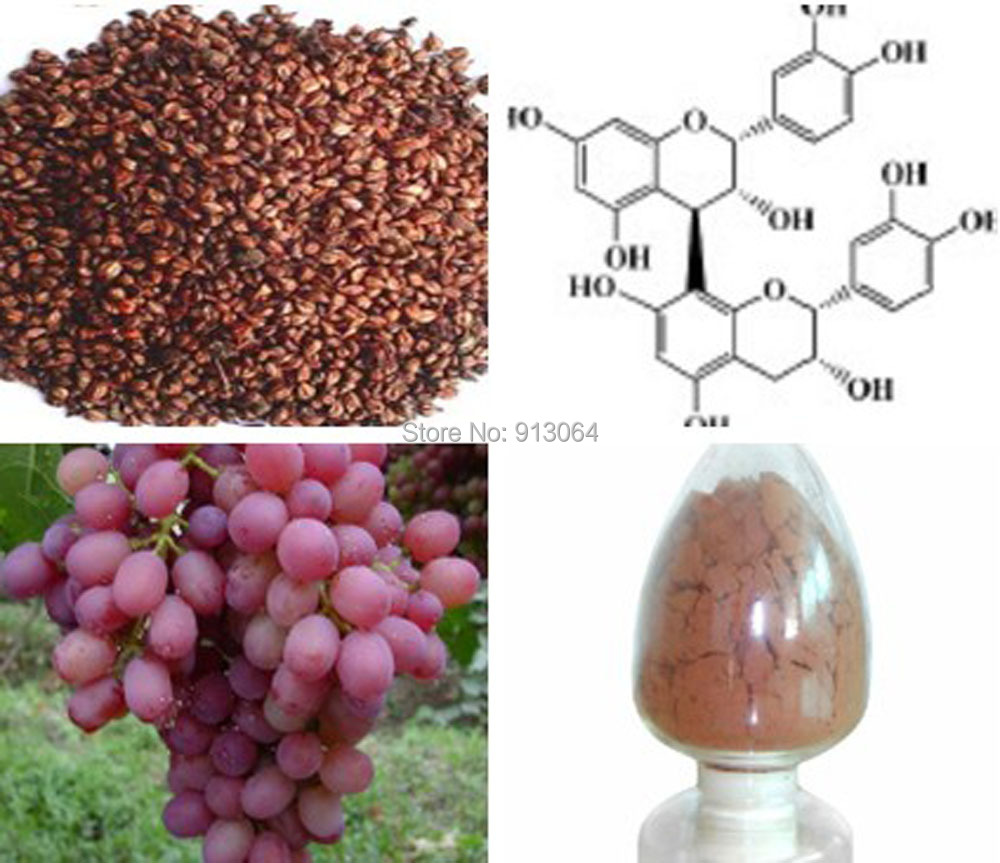 Free shipping 0.8kg bulk packing Beauty Plant Extract Grape Seed p.e. 95%OPC Proanthocyanidins Anti-oxidation, scavenging free <br><br>Aliexpress