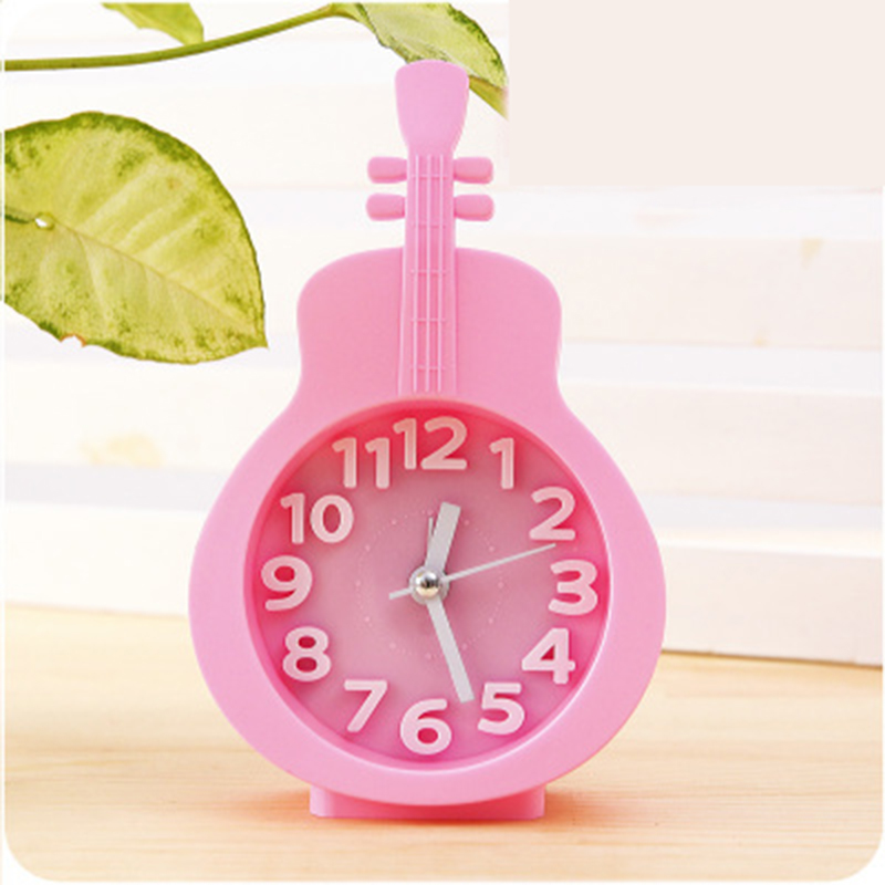 Newly Fashion Violin Shape Kids Alarm Clock Desktop Students Horse Style Table Mute Cartoon Clock Eco-friendly Materials Watch(China (Mainland))