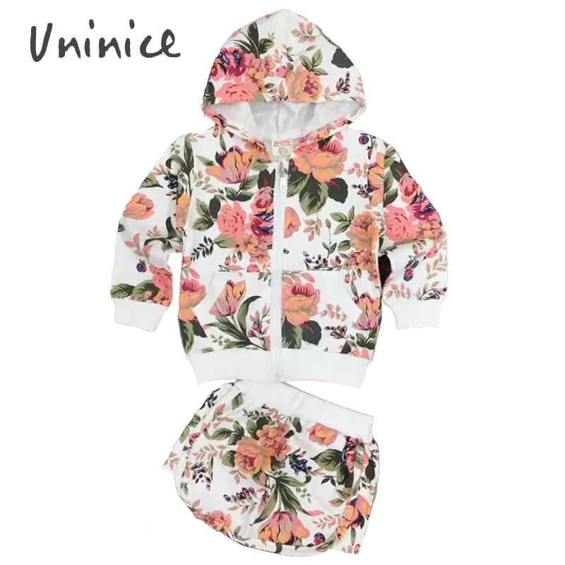 Kids clothes 2016 autumn fashion flowers printed clothing sets baby girls coats and jackets cardigan hoodies + skirt two pieces(China (Mainland))