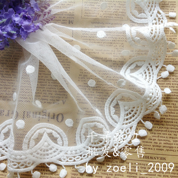 Cotton embroidery lace applique dot embroidery scalloped milky white soft tulle lace 14cm wide-7 yards long one piece(China (Mainland))