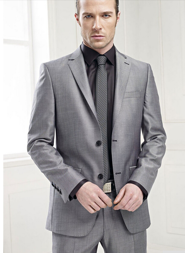 Custom Made Slim Fit Groom Tuxedos Gray Suit Notch Lapel