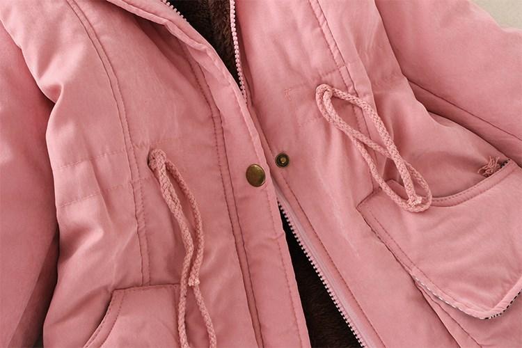 Скидки на 2016 Зимняя Куртка Женщины Куртка Полный молнии с капюшоном Пальто хлопка лайнер Кашемир hat Полиэстер вскользь тонкие Плюс размер Doudoune Femme