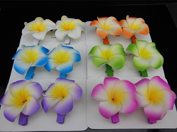 Free shipping 60PCS( 30Pair) Hawaiian Plumeria Flower Foam Hair Clip New Fashion Hair Accessory(China (Mainland))