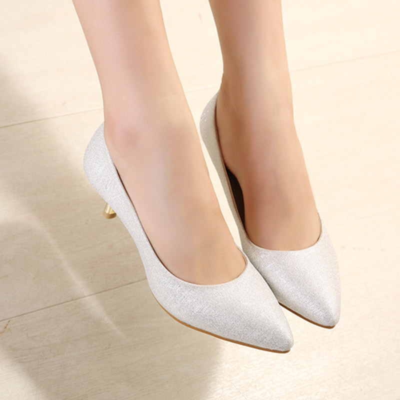 pointed toe red wedding shoes women pumps  2015 fashion silvery white high-heeled shoes  plus size 40 shallow mouth single shoes<br><br>Aliexpress