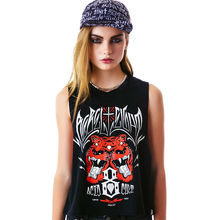 24202077 Street Fashion Punk Rock Loose Sleeveless O-Neck Solid Tiger Print  Women Short T-shirt Crop ped Tops NTHYD