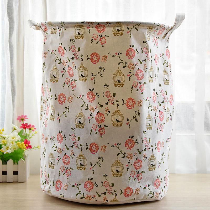Floral Multipurpose Storage Bucket Living Room Large Children Toys Basket Laundry Storage Bag 35x45cm(China (Mainland))