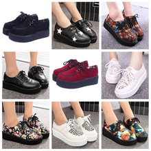SIZE 35-41 Creepers platform shoes woman plus size harajuku casual printed vintage shoes for women flats shoes women shoes(China (Mainland))