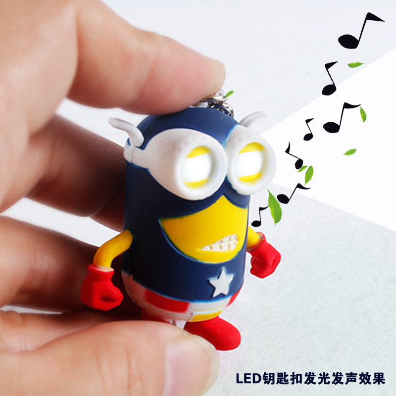 2015 Direct Selling Key Finder Llavero Led Sound Despicable Me Captain Of Minions Light-emitting Key Pendant(China (Mainland))
